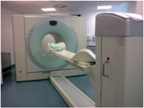Figure 2: Image of an integrated PET-CT scanner. Taken from reference (2.)