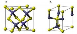 Figure 1. The zinc-blende (a) and wurtzite type (b) structures.